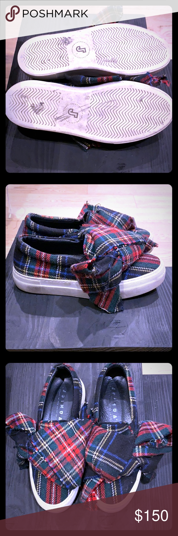 Joshua Sanders plaid bow sneakers A great statement and fashion forward sneakers…