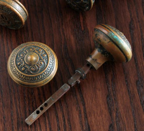 Antique-Pair-of-P-F-Corbin-Ornate-Brass-Door-Knobs-Circa-1905