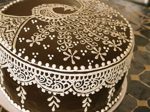 Mehndi Inspired Cake : Henna peacock cake and hennas