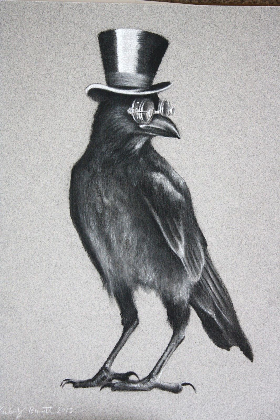 Crow With Hat And Glases Black Bird Tattoo Crow Tattoo Crow Art