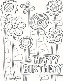Happy Birthday Doodle Coloring Birthday Cards