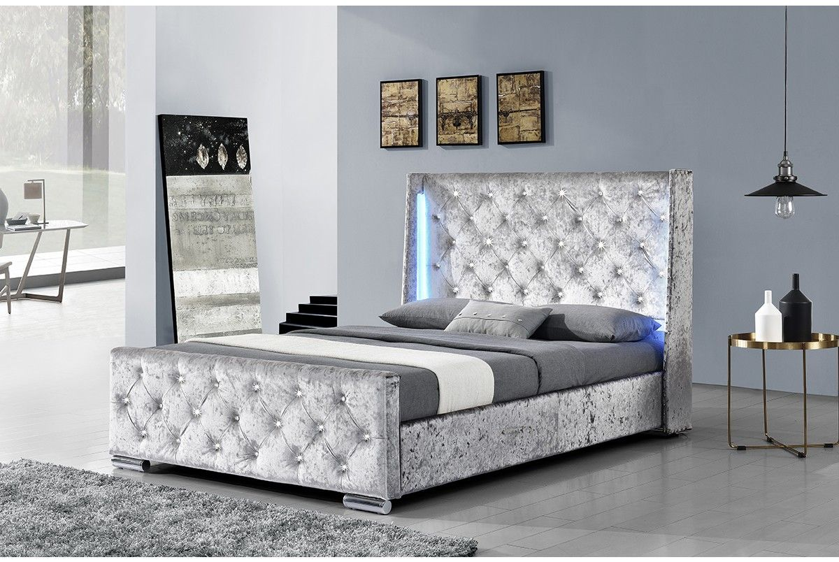 Dorchester LED Winged Diamante Headboard Crushed Velvet