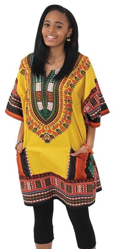 Dashki Fabric African Fashion Ankara Kitenge African: Plus Size King-Size Dashiki Yellow / 2X African Print Top