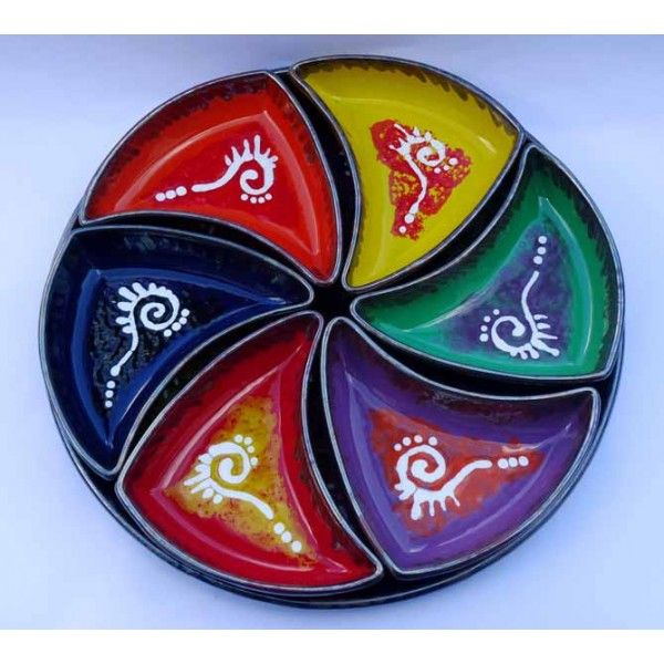 Ceramic Art  Appetizer in hand-decorated ceramics, consisting of a round tray and six bowls shaped wedges. Made in Cava de' Tirreni  Plate diameter 36 cm - Height 4 cm. Bowls cm 17 x 11 - Height 4 cm  More info on: http://www.keramos.it  Direct contact: info@keramos.it