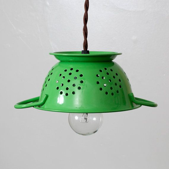 Upcycled Kitchen Colander Hanging Lamp