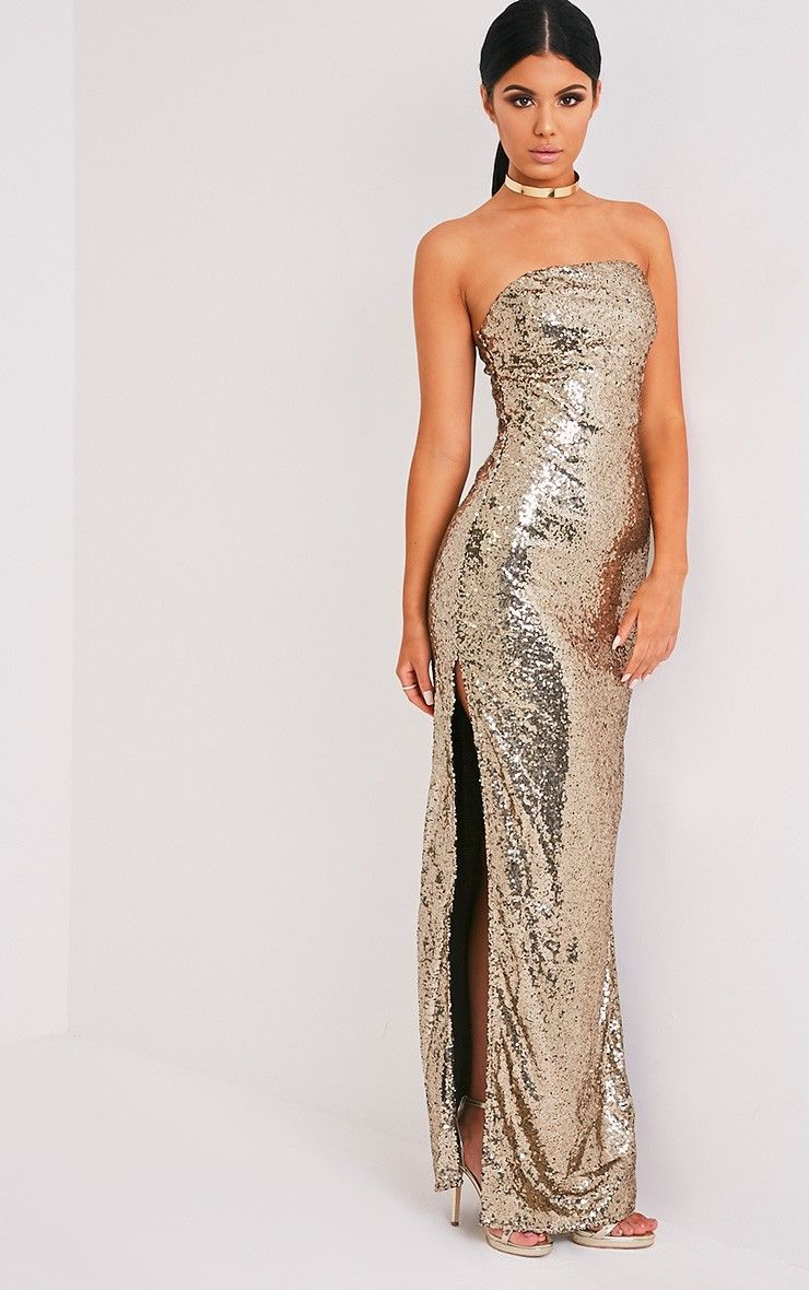 Kathie Gold Bandeau Sequin Maxi Dress Image 5 | love this one ...