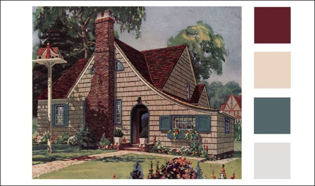 1926 Weatherbest Cottage Multi Color Red Brown Roof Shingles Roof Warm Beige Shingles Muted Teal Red Roof Exterior Paint Schemes House Color Schemes