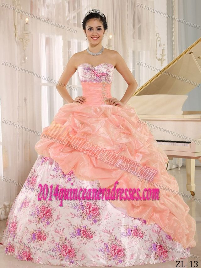 5873a533241 Printing Sweetheart Beaded Quinceanera Dress with Pick-ups in Multi-color