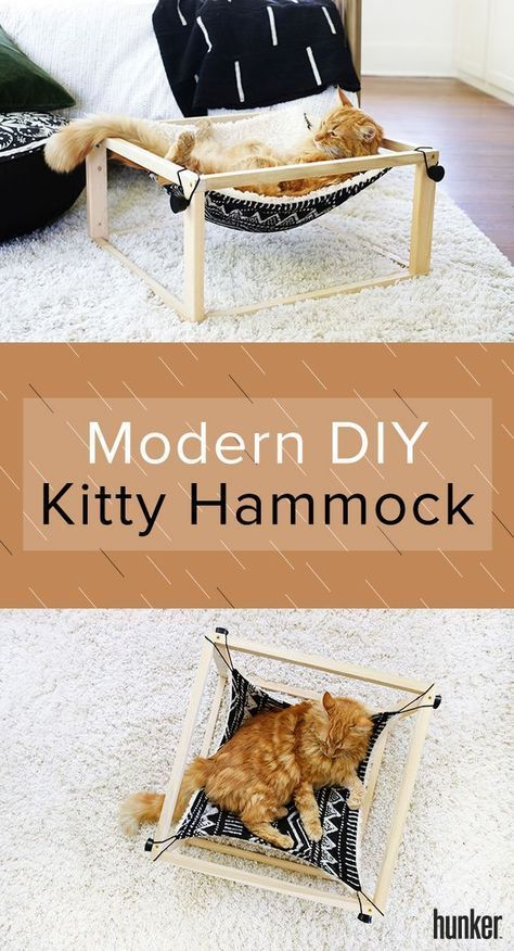 Your Cat is Going to Lurve This Modern DIY Kitty Hammock #trendybedroom