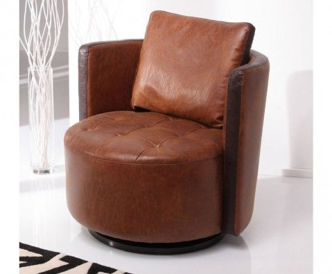 Marcel Swivel Faux Leather Tub Chair, antique tan with brown detail