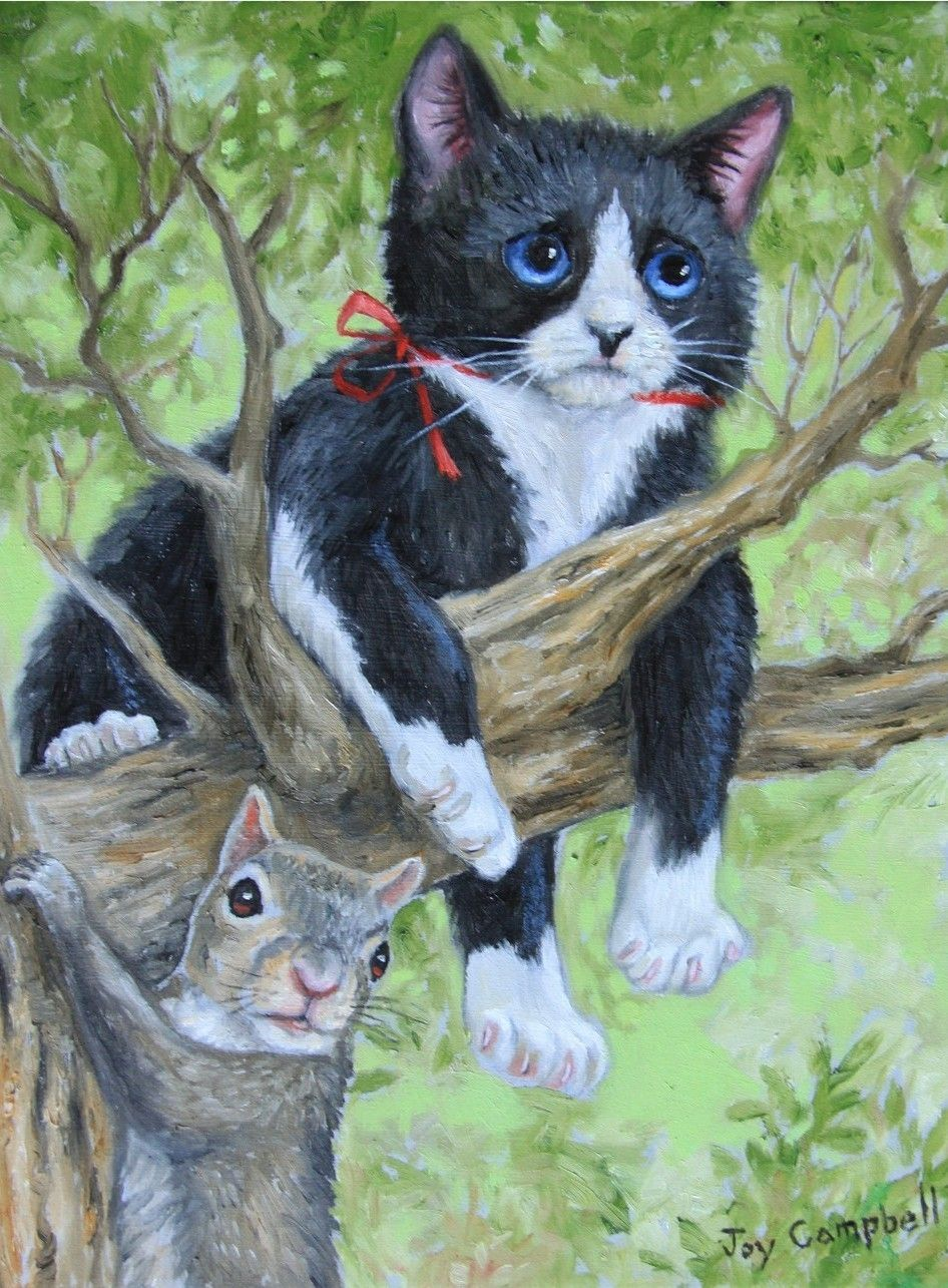 Cat Kitten Squirrel Tree Cute ACEO Print from Original Oil by Joy Campbell | eBay