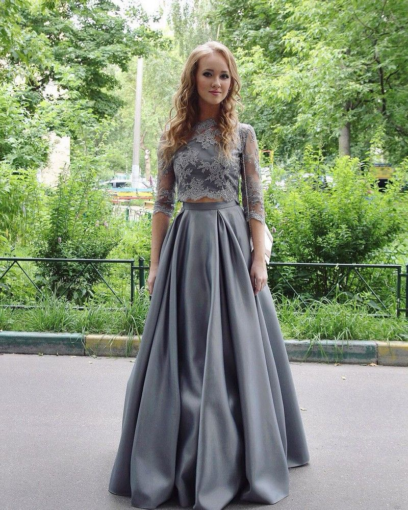 Gray pieces prom dress with sheer half prom dresses pinterest
