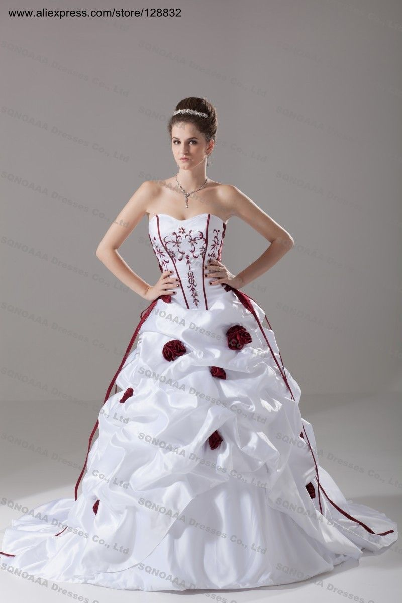 I Love This One Even Better Than The Other One On My Page That Is Like This Because It Has La Wedding Dresses Taffeta Burgundy Wedding Dress White Bridal Gown