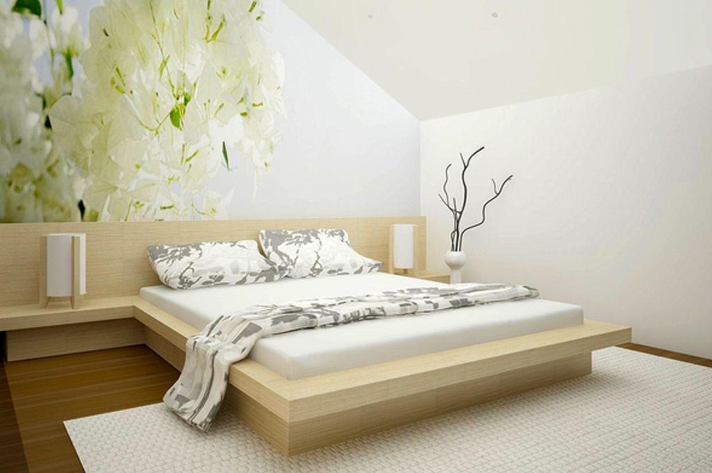 Bright Bedroom In The Attic Photo Wallpaper White And Green Flowers Jasna Sypialnia Na Poddaszu Fototapeta Bialo Zielone K Brighter Bedroom Home Home Decor