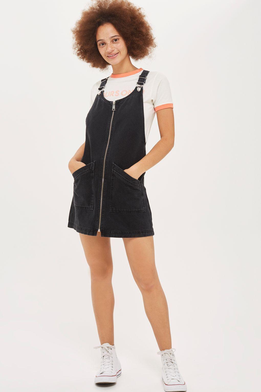 MOTO Zip Front Denim Pinafore Dress - Dresses - Clothing