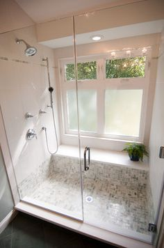 windows in the shower with bottom ones frosted? I like the bench/shelf in