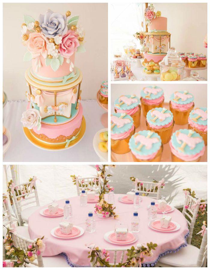 Pastel Carousel Birthday Party Via Kara S Party Ideas