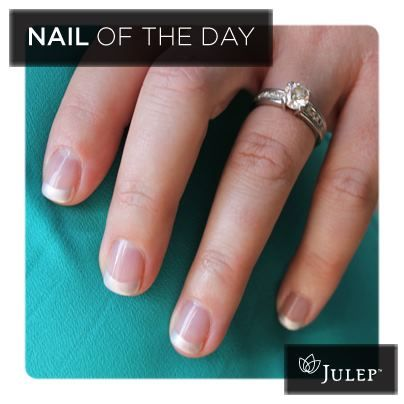 """Nail of the Day: Metallic french featuring Harley.    One of our Julep team members said """"Yes!"""" and is testing out bridal nail looks. Like this if you are a fan!"""