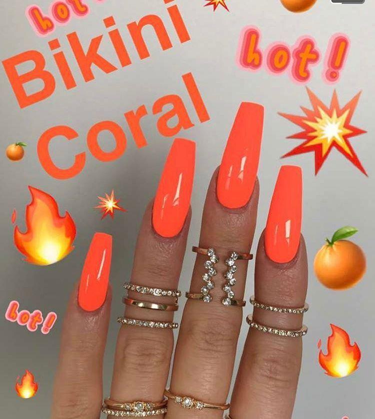 Pin By Jeili Segovia On Orange Nails Unas De Gel Unas Postizas Orange Acrylic Nails Orange Nails Gorgeous Nails