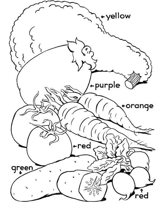vegetables coloring pages for kindergarten | Páginas para ...