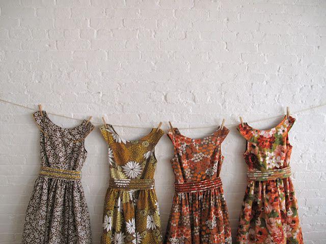 Beautiful custom made bridesmaids' tea dresses with vintage fabric