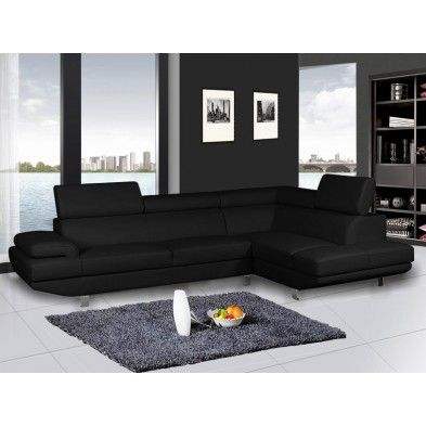 Canape Angle Droit Ultra Design Coloris Noir Hall Furniture Furniture Sectional Couch
