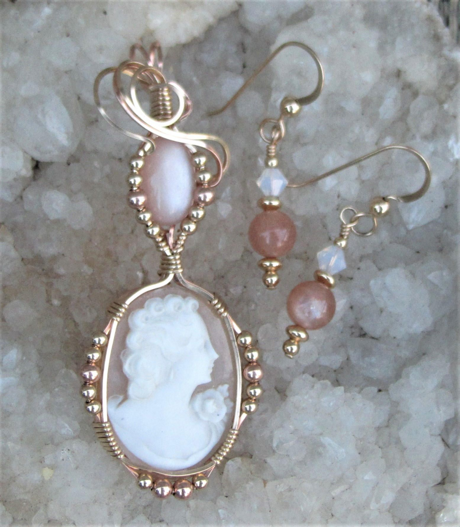 Wire wrapped antique carved shell cameo and peach moonstone