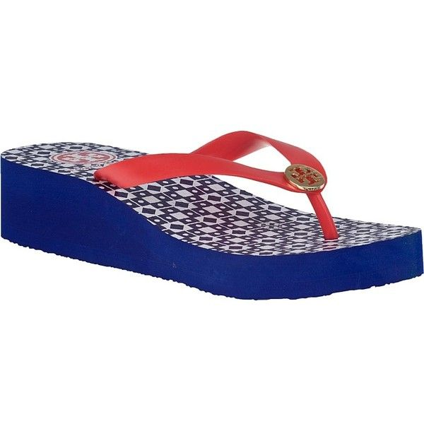 e95bec776b42e TORY BURCH Adonis Wedge Flip Flop Volcano Red ( 60) ❤ liked on Polyvore