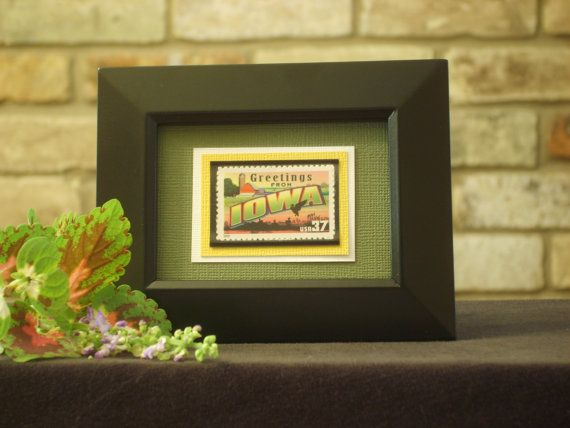 Greetings from Iowa Framed Postage Stamp by RedBeansnRice on Etsy, $12.00