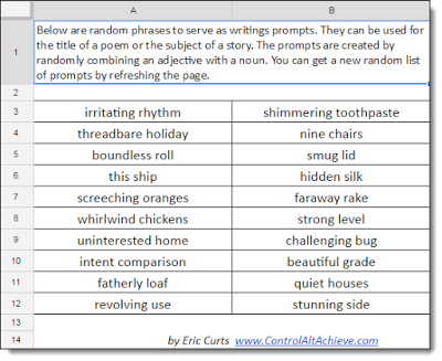 Control Alt Achieve: Random Writing Prompt Generator with