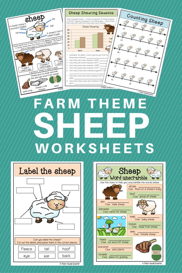 Farm Theme: Sheep Poster and worksheets for ELA and Mathematics ...