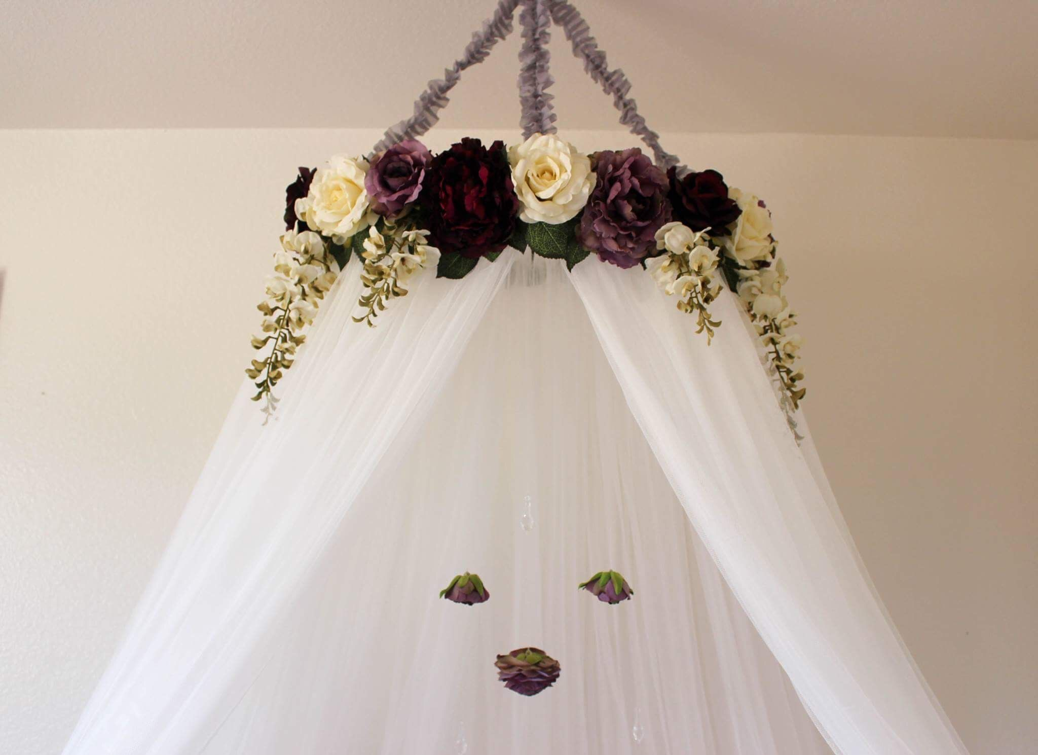 serene floral purple and white flower crib or bed canopy crown