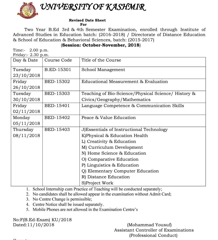 Revised Date Sheet For B Ed 3rd 4th Semester Exam 2018 Dde