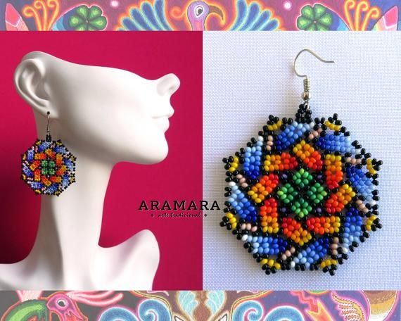 9b5ad004447d27 Native american earrings, Mexican earrings, Mexican Jewelry, Huichol  Earrings, Round earrings,