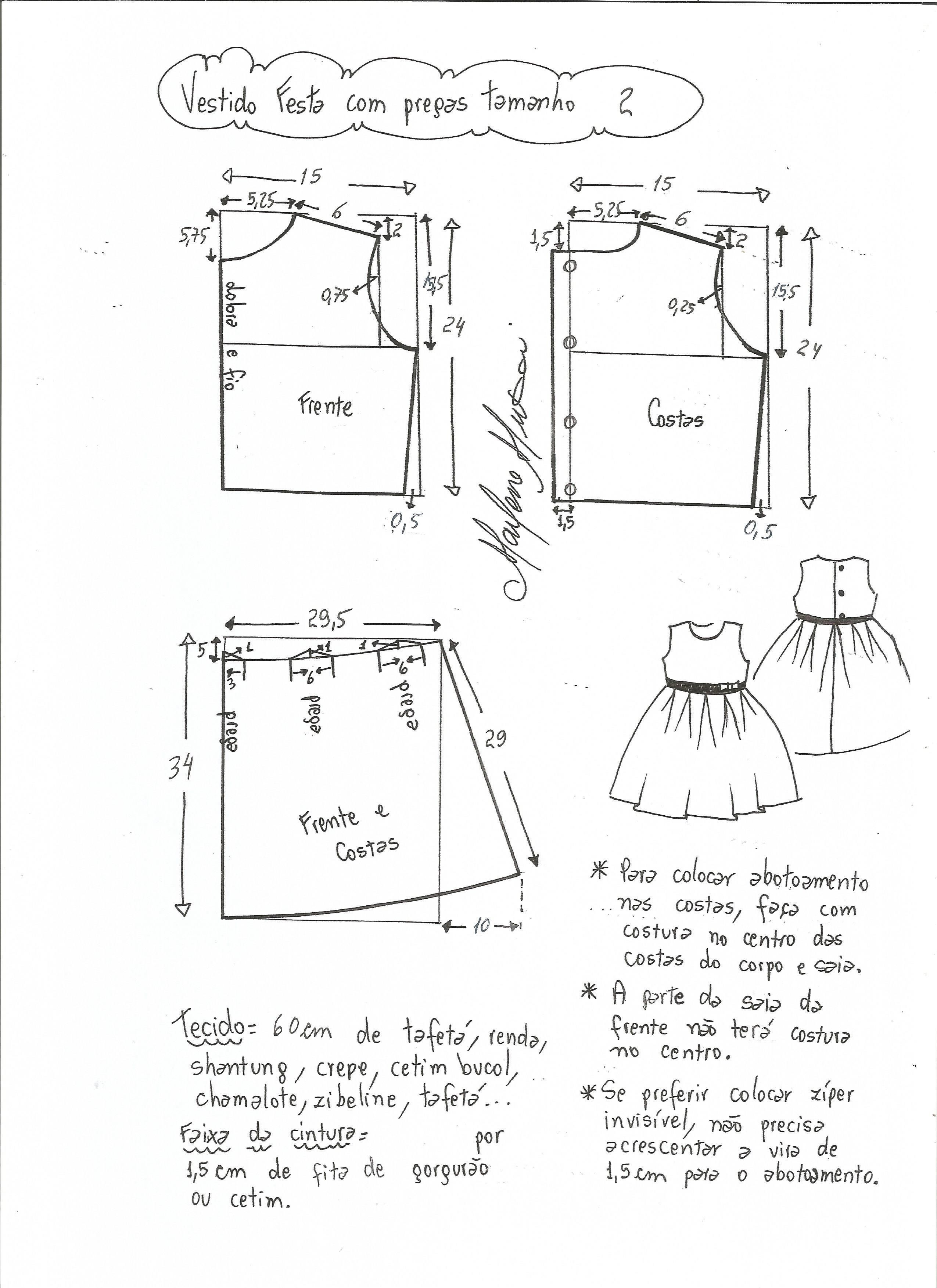 Patrón vestido de fiesta para niña con la falda plisada | costura ...