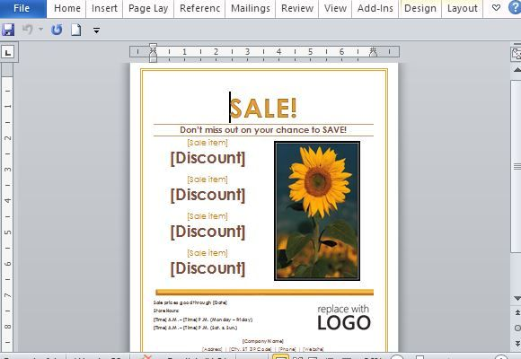 Sales Flyer Template for Word Word Templates Pinterest Flyer