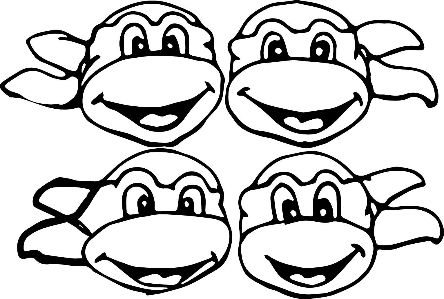 Ninja turtles coloring page - 4 Four Head Ninja Mutant Turtle Coloring Page