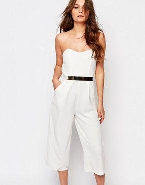 Mono largo palabra de honor con diseño estilo falda pantalón con cinturón de New Look