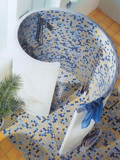 Für eine Duschschnecke ist Glasmosaik Ideal Badezimmer - badezimmer duschschnecke