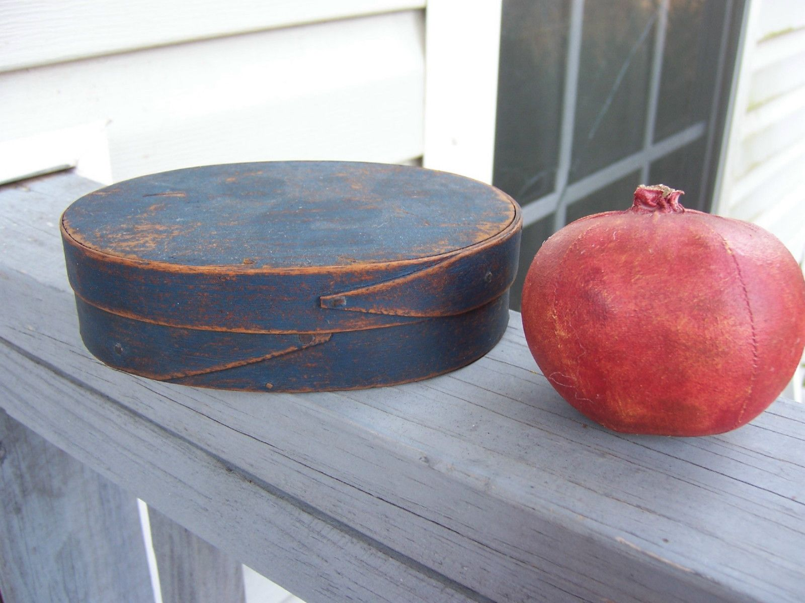 "AAFA 19th C Oval Shaker Pantry Box Fabulous Original Blue Paint.   Fabulous 19Th C Oval Shaker Pantry Box. Outstanding Original Blue paint. Best patina and paint wear. Just over 5 1/2"" long X  just under 4"" wide X 1 1/2"" deep. 
