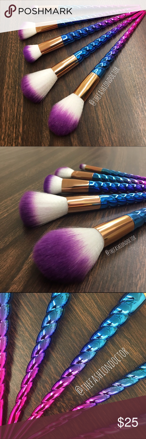 5 ombré unicorn horn makeup brush set 5 brand new