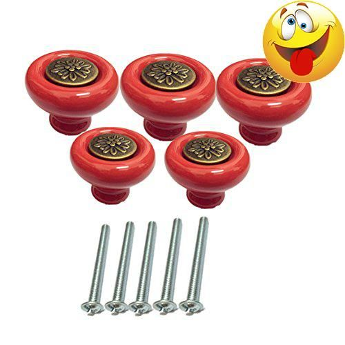 Specifications: .Color:red .Material: #Ceramic + Zinc alloy .Type: #Single hole .Knob length:38mm, height:31mm, width:38mm Round Ceramic Shape with petals inlaying ...