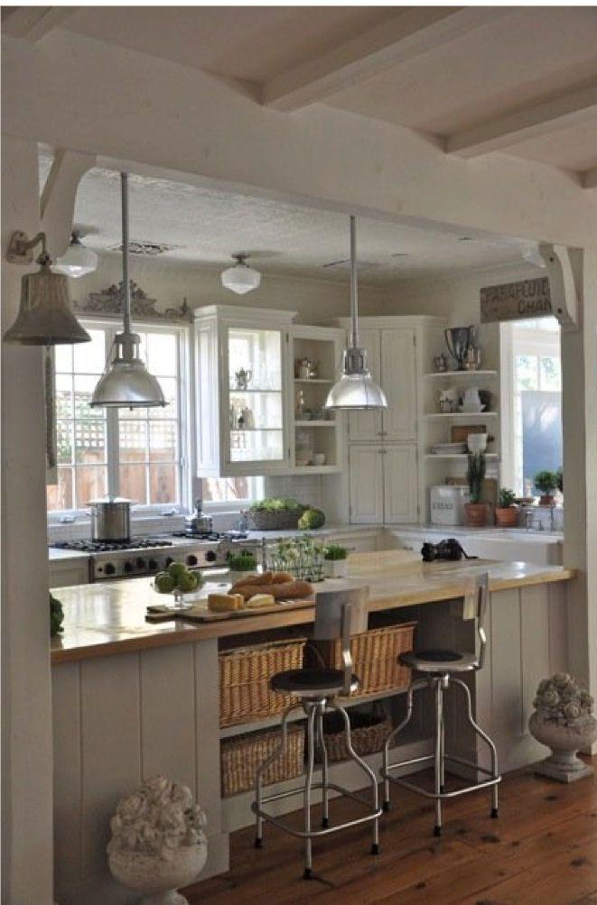 baskets under bar kt cottage style kitchen kitchen design home rh pinterest com