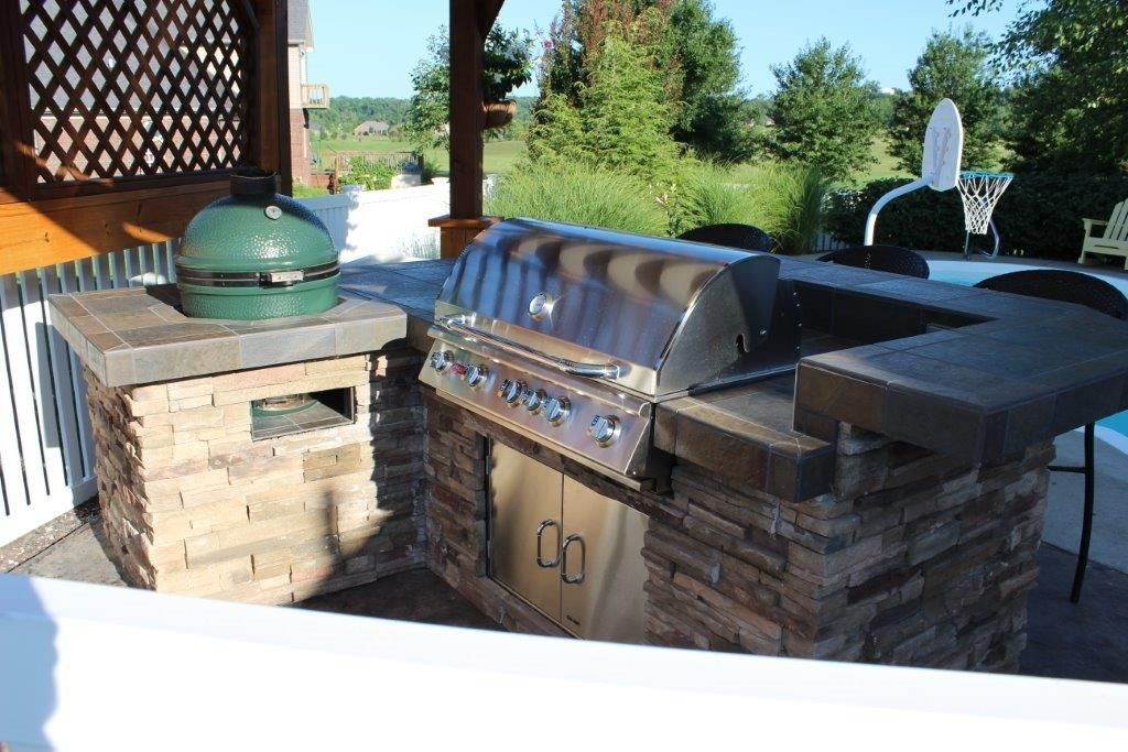 Jim Isonhood Used Bbq Coach Diy System To Build This Bbq Island With A Gas Grill And Big Green Egg Smoker Great Job Ji Outdoor Barbeque Bbq Island Outdoor Bbq