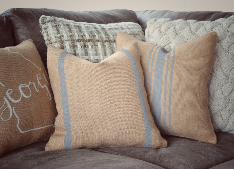 Grain Sack Pillow Cover, Choose your Color, Burlap Pillow, Striped ...
