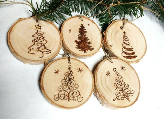 Five Wood Burned Christmas Tree Ornaments Tree Slice Ornaments Rustic Wood Ornaments How To Make Ornaments Christmas Tree Ornaments Family Christmas Crafts