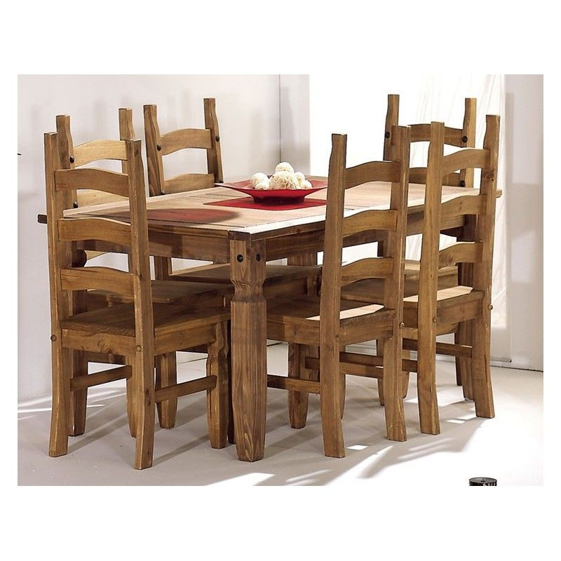mesas sillas de comedor rusticas en madera