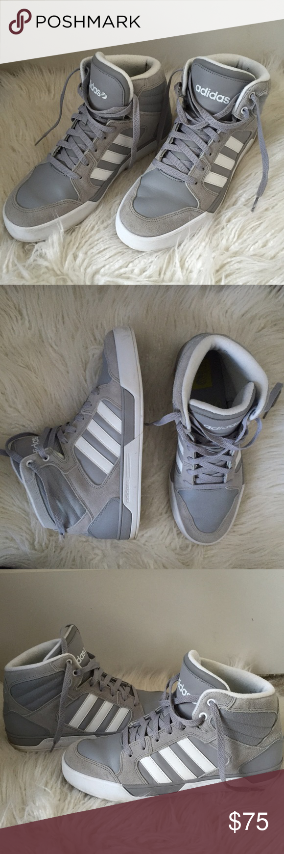 Grey Adidas High Top Sneakers  Very good condition. No issues or defects. Men's size 9 or women's size 10.  SAVE MONEY:  YES ✅ TRADES YES ✅ OFFERS  YES ✅ BUNDLES OF 3 OR MORE- 30% OFF Adidas Shoes Sneakers