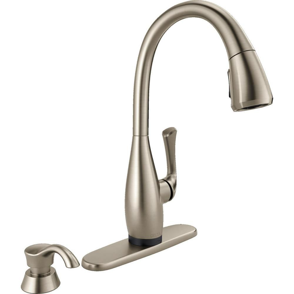Delta Dominic Singlehandle Pulldown Sprayer Kitchen Faucet With Beauteous Single Handle Kitchen Faucet Inspiration