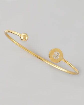 Sarah Chloe Diamond-Ball & Pave Diamond Initial Bracelet sF5R9